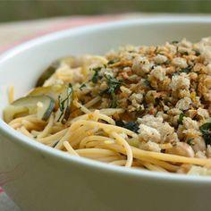 Pasta with Zucchini, Chickpeas and Gremolata Bread Crumbs