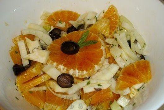 Sicilian orange, fennel and black olives salad