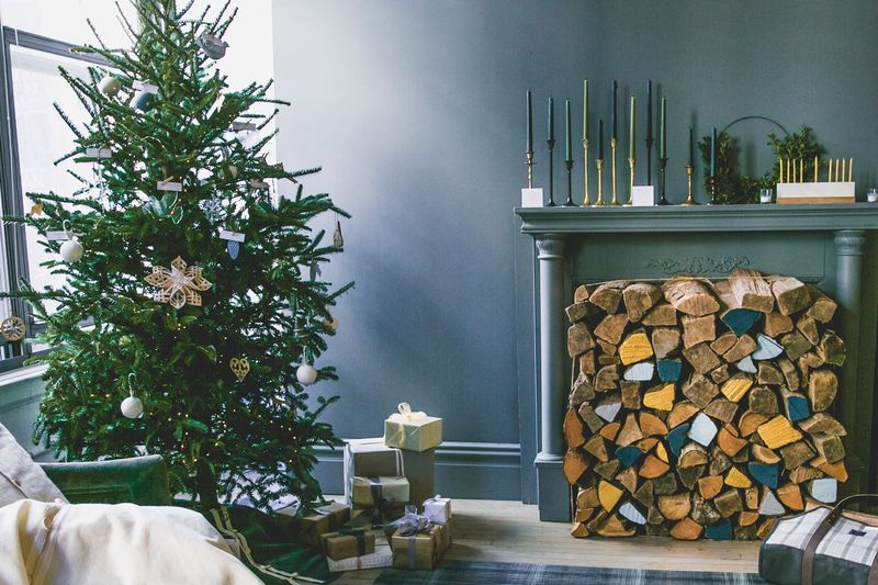 A cozy corner transformed into a Christmas dream (if only we could have a real fire in the fireplace!).