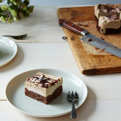 Chocolate-Date Cake Topped with Roasted Banana Ice Cream