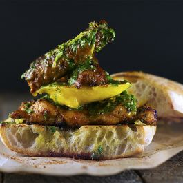 Mango & Smoked Chorizo Sandwich with Blackened Chicken and Chimichurri