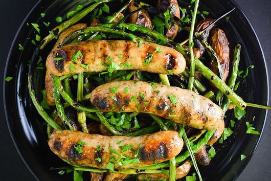 Grilled Sausage With Potatoes And Garlic Scapes