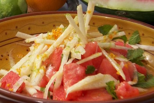 Watermelon, jicama, and feta salad with a honey vinaigrette