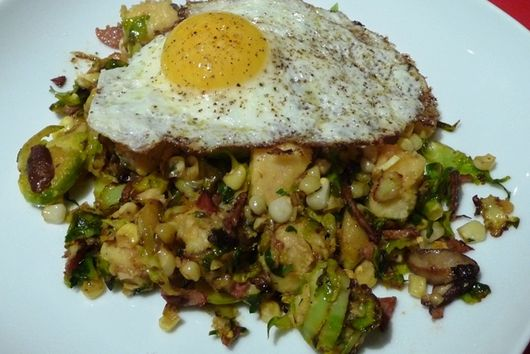 "Brussels Sprout and Corn Hash (with ""Hard"" Polenta Cubes)"