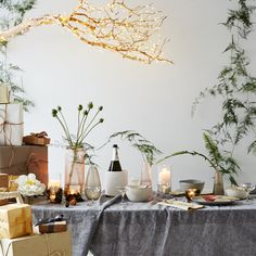 How to Turn a Branch into a Twinkly Chandelier for New Year's Eve