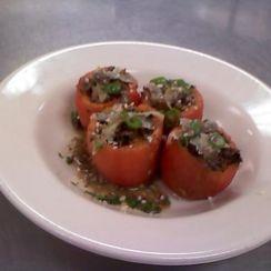 Paella Style Baked & Stuffed Heirloom Tomatoes