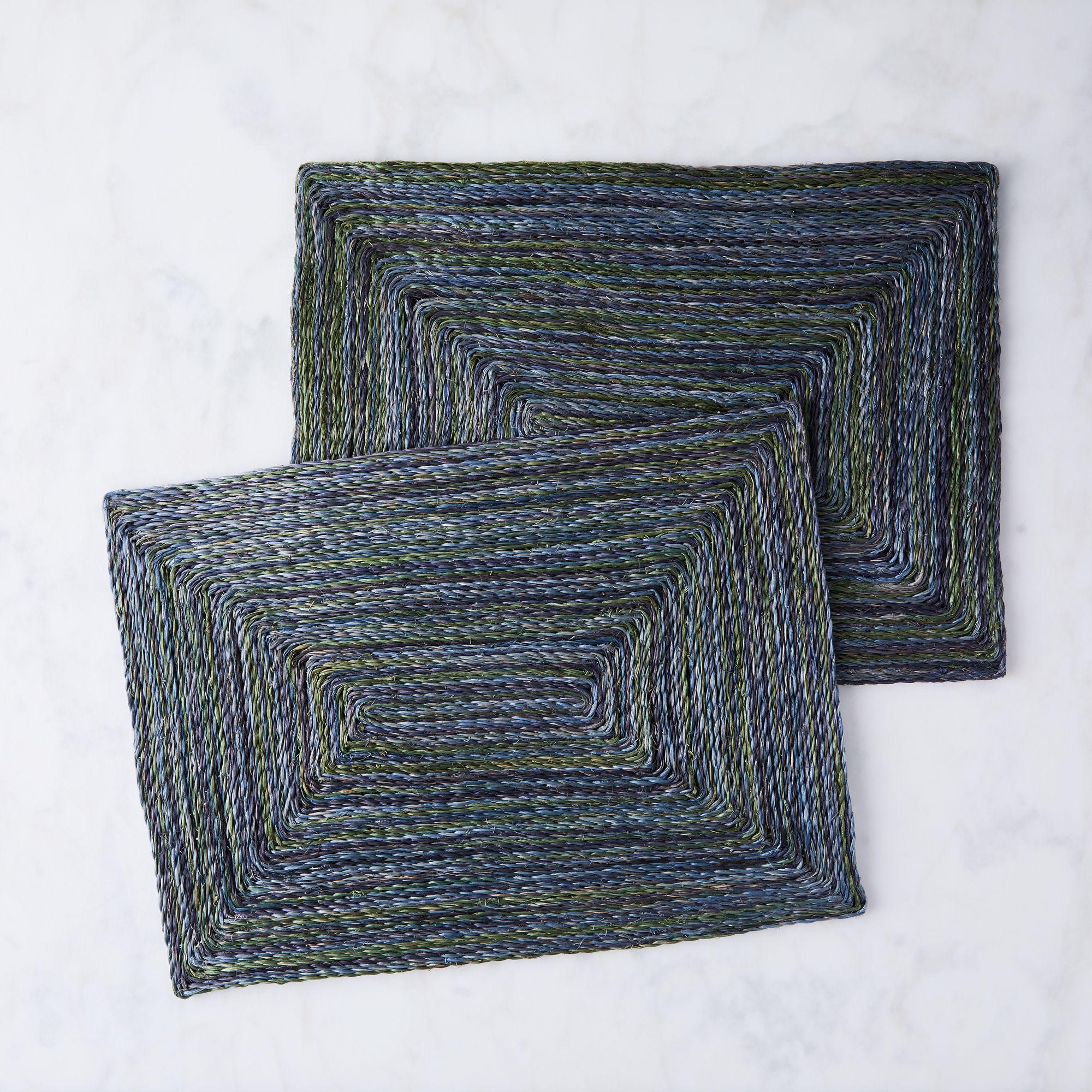 Blue Pheasant Twisted Abaca Ocean Placemats (Set of 2)  - Rectangular