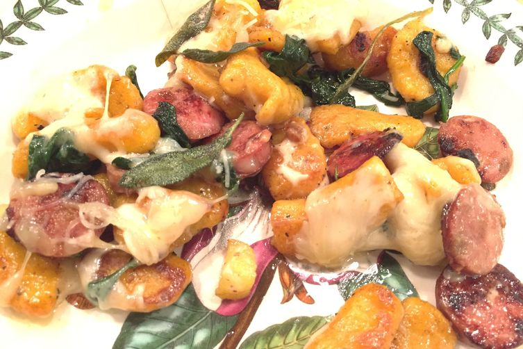 Butternut Squash Gnocchi with Chicken Sausage, Apples, Spinach and Fontina