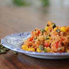 Tomato Quinoa with Zucchini Red Pepper and Corn