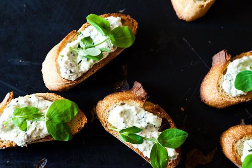 Ramped Up Crostini with Ricotta and Pea Shoots Recipe on ...