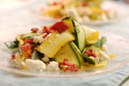 Shaved Summer Squash with Mint, Prosciutto, and Feta