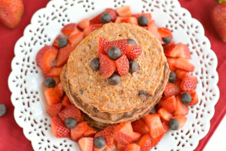 Strawberry Oat Chocolate Chip Greek Yogurt Pancakes