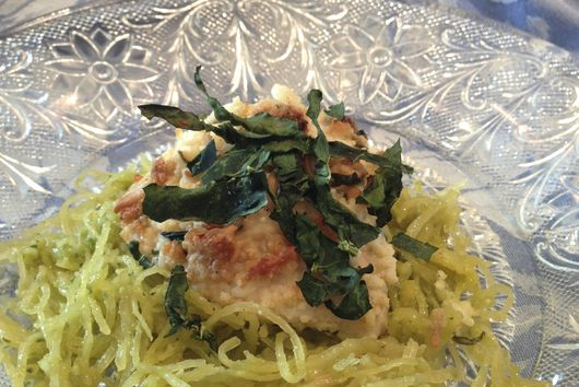 Spaghetti Squash with Chicken Parmesan