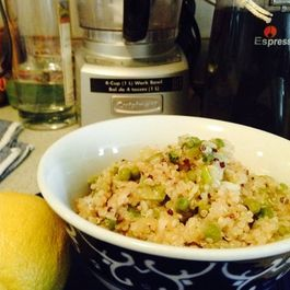 Easy Scallion, Green Pea and Lemon Quinoa Pilaf with Sesame Seeds