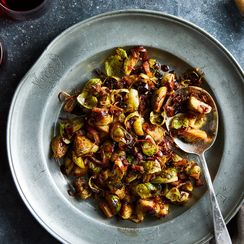 Roasted Brussels Sprouts With Bacon & Balsamic-Cranberry Glaze
