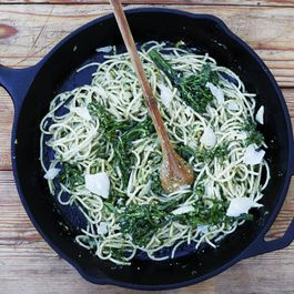Pasta with Broccolini Pesto and Crème Fraîche