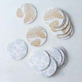 Holiday Gold & Silver Letterpress Coasters (Set of 16)