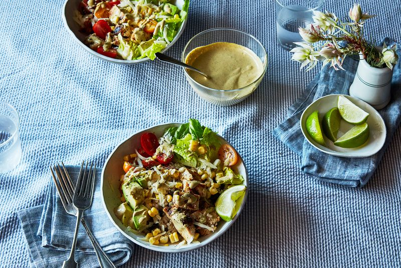 BBQ Chicken Burrito Bowls with Chipotle Mayonnaise Dressing
