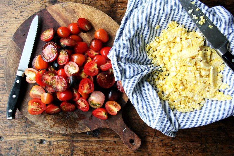 Cut the corn the smart way, and don't add tomatoes if you are making this ahead.