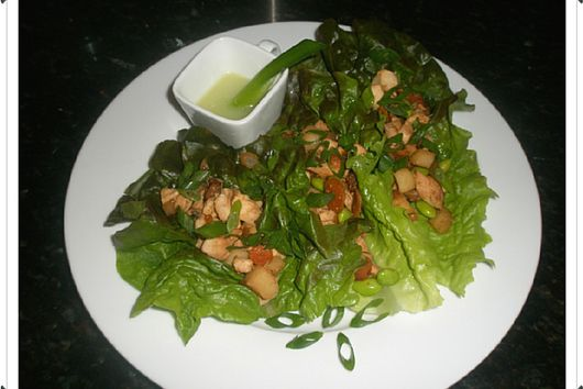 Chicken Lettuce Wraps with Wasabi Lime Dressing
