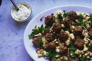 Sheet Pan Lamb Meatballs with Cauliflower and Tahini-Yogurt Sauce