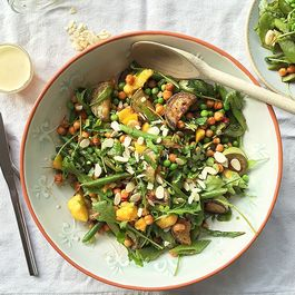 Mango salad with roasted chickpeas & asparagus