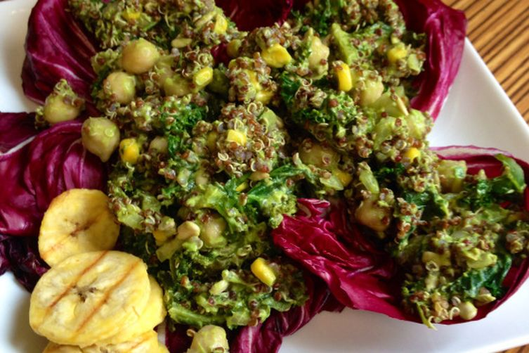 Raddichio-wrapped Quinoa Kale Taco Salad w/ Spicy Avocado Dressing