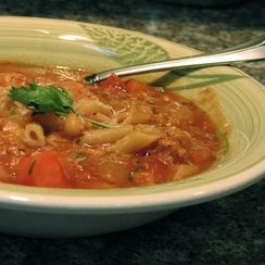 Hearty Sausage, Eggplant, and Bean Soup
