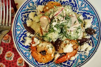 Cc4a5898 c45b 4fff 9e93 382a198b3926  shrimp with cucumber salad casual serving with olives and feta