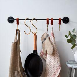 American-Made Iron Pot Rack & Brass S-Hooks