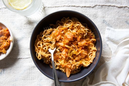 Spicy Noodles With Peanut Butter & Kimchi