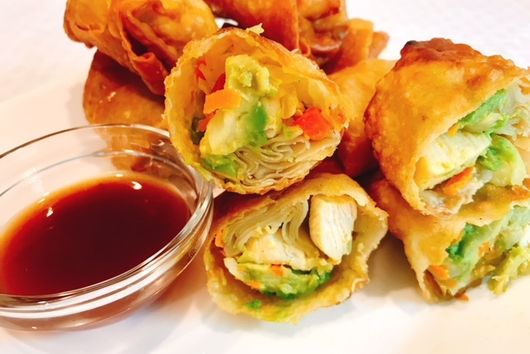 Chicken Avocado & Veggie Egg Rolls With Sweet & Sour Sauce