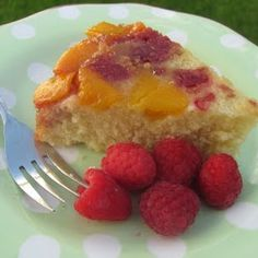 Raspberry-Mango Upside Down Cake