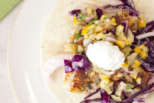 Mediterranean inspired fish tacos