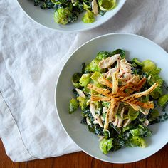 Kale and Brussels Sprout Salad with Chicken and Greek Yogurt Hummus Dressing