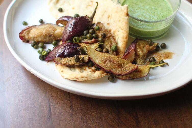 Fried Green Chickpeas + Baby Eggplant with Yogurt Chutney