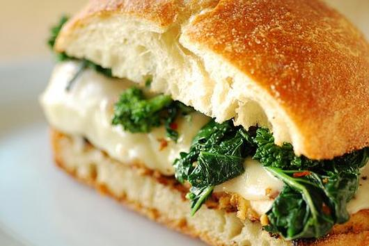 Italian Chicken Cutlet Sandwich with Broccoli Rabe and Provolone