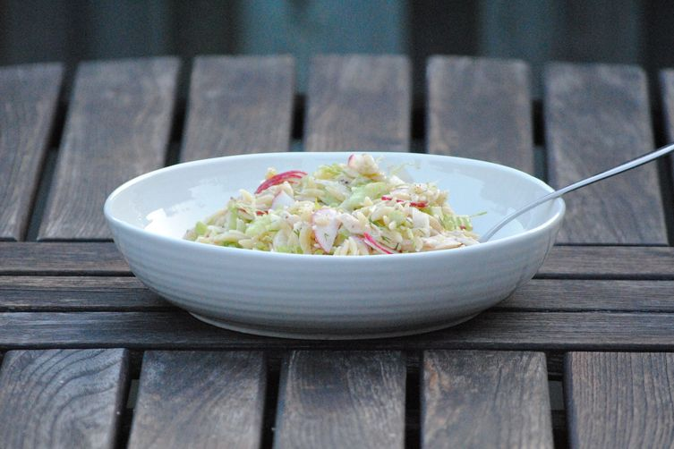 Spring Vegetable Orzo Salad with Tahini and Sumac Dressing