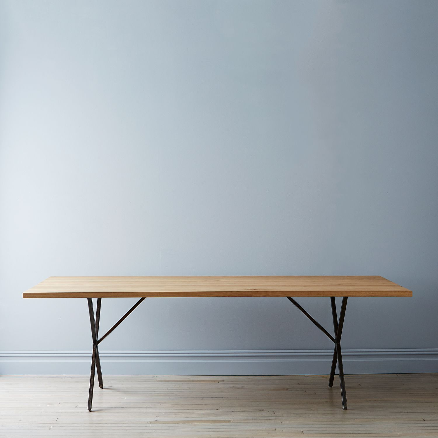 Solid white oak rusted steel farm table bench on food52 for Table 52 2015