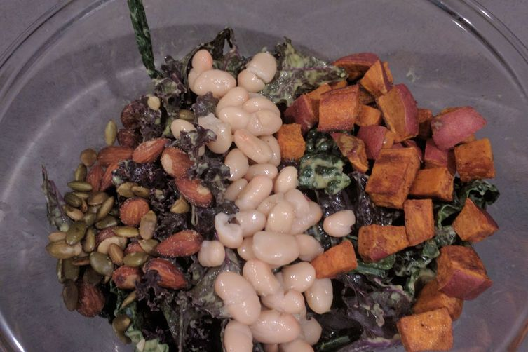 Kale Salad with Roast Yams, Cannellini Beans, Green Goddess Dressing