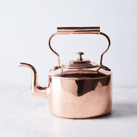 Vintage Copper Tea Kettle with Embossed Lid, Mid 19th Century
