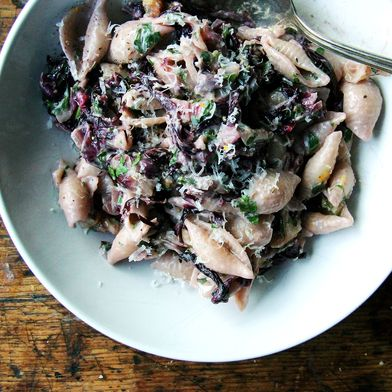 Pasta with Gorgonzola, Radicchio, Walnuts, and Orange