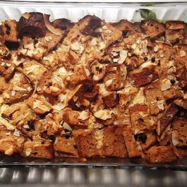 Coconut Currant Sourdough Bread Pudding