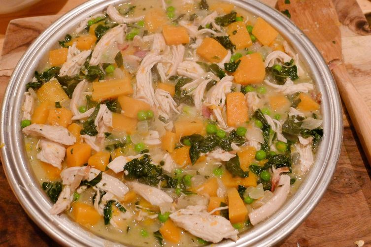 Whole Wheat-Crusted Chicken Pot Pie with Kale, Butternut Squash, and Fresh Herbs