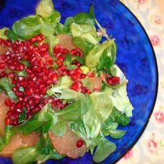 Pink Grapefruit, Pomegranate, & Mâche Salad with Lemon-Ume Vinaigrette