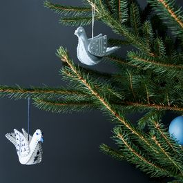 Hand-Stitched Wool Dove Ornament