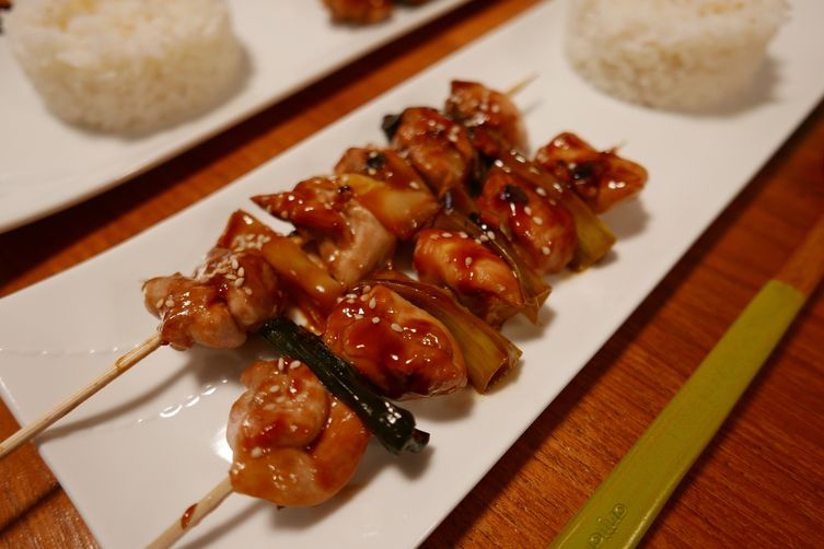 Japanese Style Chicken and Leek Skewers