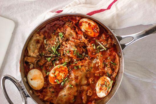 Pork and Chive Mandoo {Dumpling} in Tteokbokki Sauce