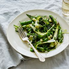 Fresh Raw Pea, Asparagus & Fava Bean Salad with Herbs & Pecorino