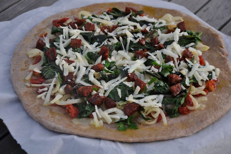 Sun-Dried Tomato, Basil, Chorizo and Manchego Pizza on a Red Wine Crust